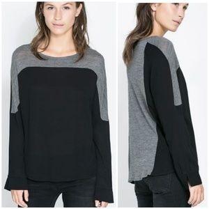 ZARA Long Sleeve Colorblock Two-Tone Wool T-Shirt!